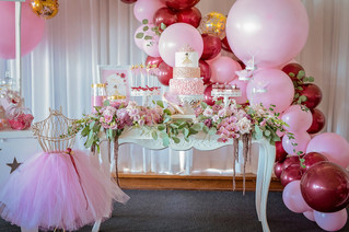 Pink, Burgundy and Gold Confetti Balloons