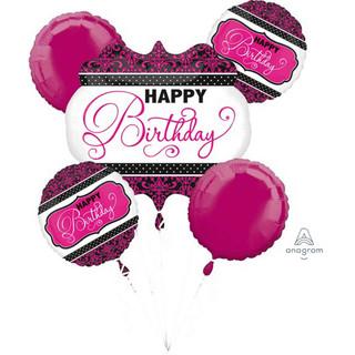 Pink and Black Happy Birthay