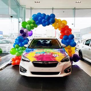 Subaru Colour Run Rainbow Balloon Arch