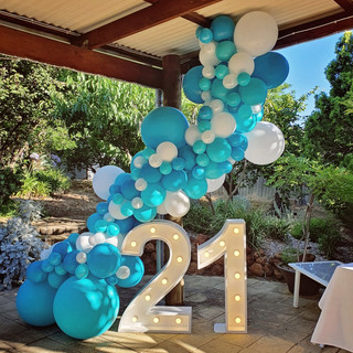 21st balloon garland caribbean blue and