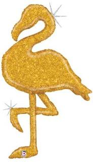 Gold Holographic Flamingo 89cm