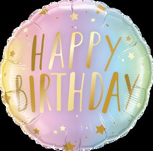 Ombre Pastel Gold Happy Birthday