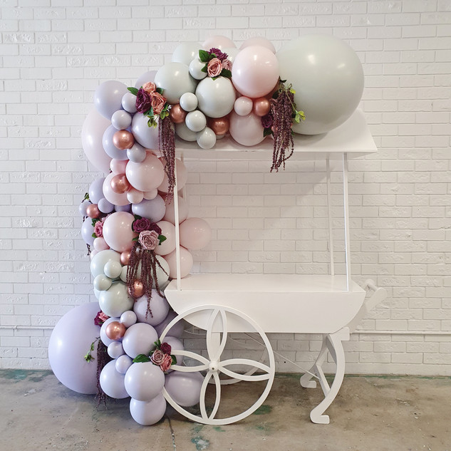 Lolly Cart With Balloon Garland Perth