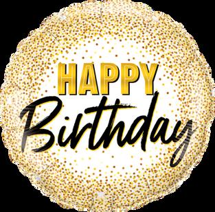 Happy Birthday Gold Glitter Dots