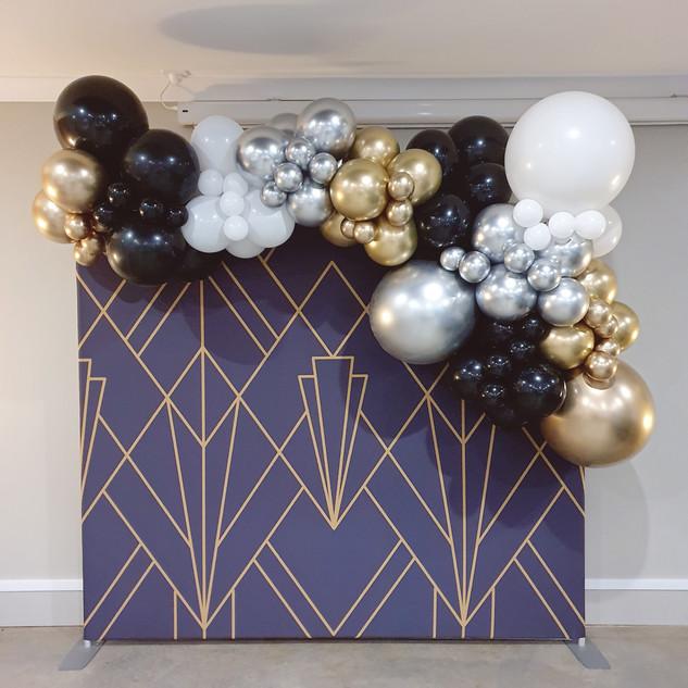 Black, White, Chrome Silver and Chrome Gold 3m Balloon Garland