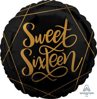 Black and Gold Sweet Sixteen Foil