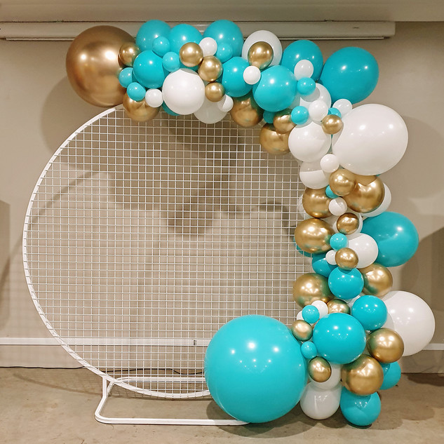 Round Mesh Backdrop Hire with Tiffany Blue Balloon Garland