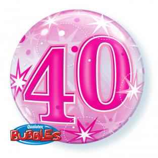 Bright Pink 40th Bubble