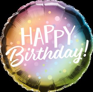 Metallic Ombre Dots Happy Birthday
