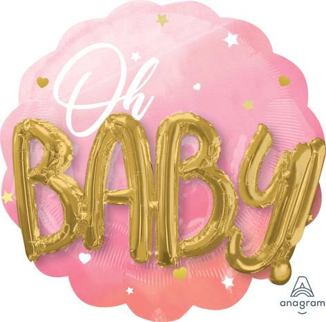 76cm x 71cm Oh Baby Multi Balloon Pink