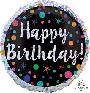 Holographic Polka Dot Happy Birthday