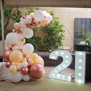 Rose Gold, white and Peach 3m Balloon Garland around Hoop Backdorp Frame