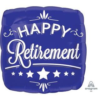Happy retirement blue square
