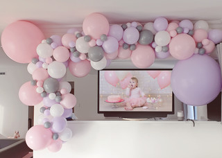 Pink Lilac and grey balloon garland