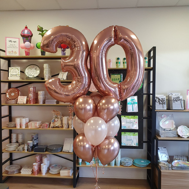 Rose Gold foil numbers and latex balloon