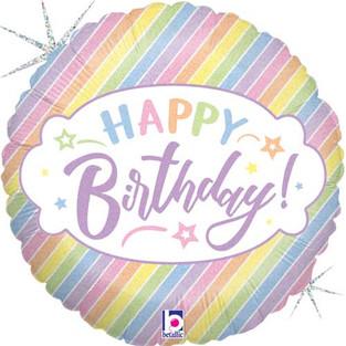 Happy Birthday Pastel Diagonal Stripes