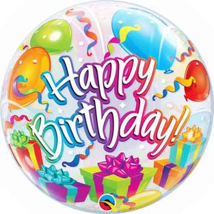 Happy Birthday Confetti and Balloons Bubble