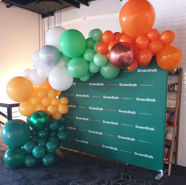Green, White, Mint, Yellow and Orange Balloon Garland with Orbz