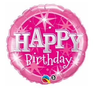 Pink Happy Birthday With Stars