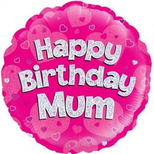 Happy Birthday Mum Holographic Pink