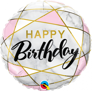 Geometric Happy Birthday Pink and Grey
