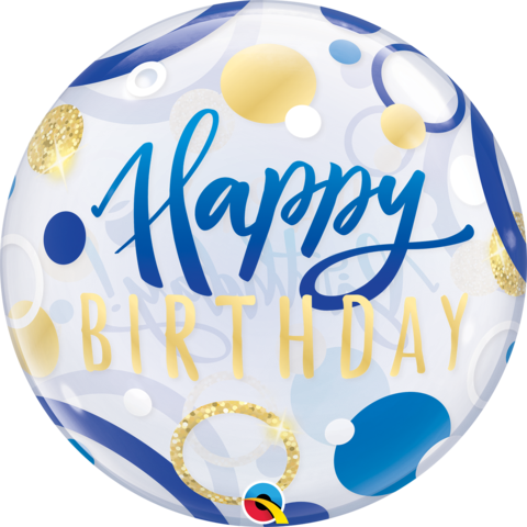 Blue and Gold Happy Birthday Bubble