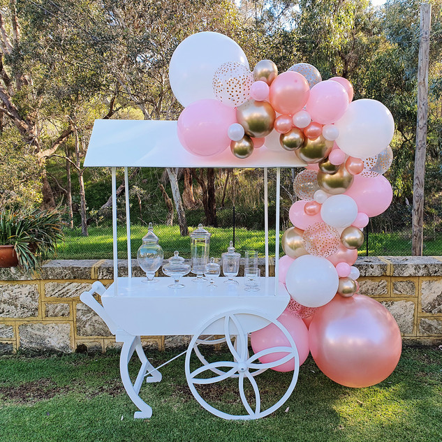 Lolly Cart with Rose Gold Balloon Garlan