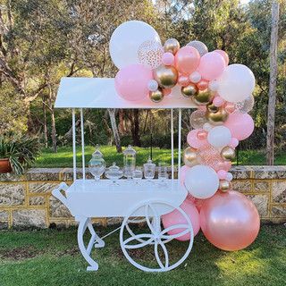Lolly Cart with Rose Gold Balloon Garland