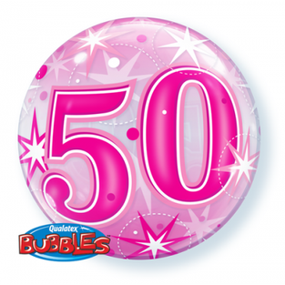 Bright Pink 50th Bubble
