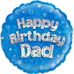Happy Birthday Dad Holographic Blue