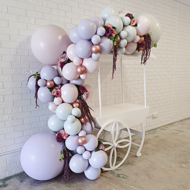 Pastel Balloon Garland on Lolly Cart Per