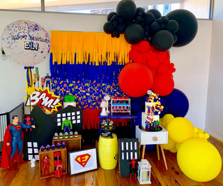 Black, Red, Blue and Yellow Balloon Garland