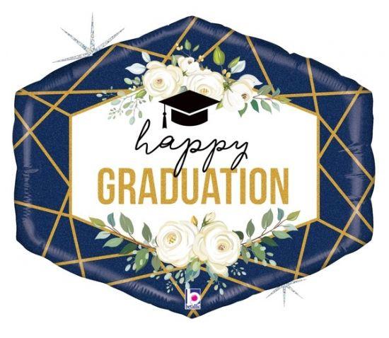 Happy Graduation Gold and Navy