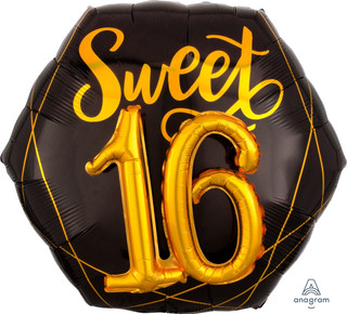 76cm Multi Balloon Black and Gold Sweet 16