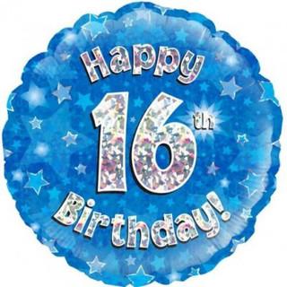 Happy 16th Birthday Holographic Blue