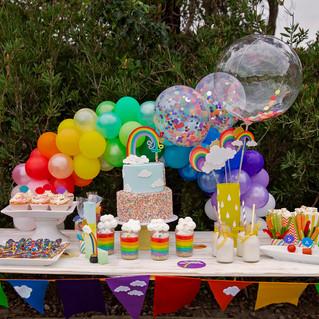 Rainbow Mini Table Arch with Confetti Balloons