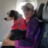 Keith Payne and  Smokey Search Dog  on plane.  Brisby Search OKC