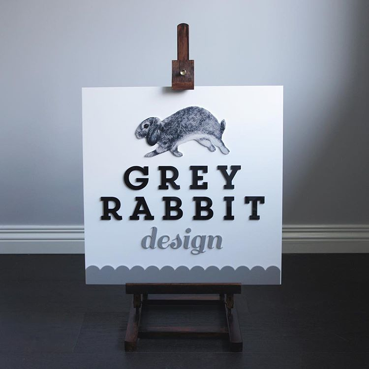 Grey Rabbit Design Print