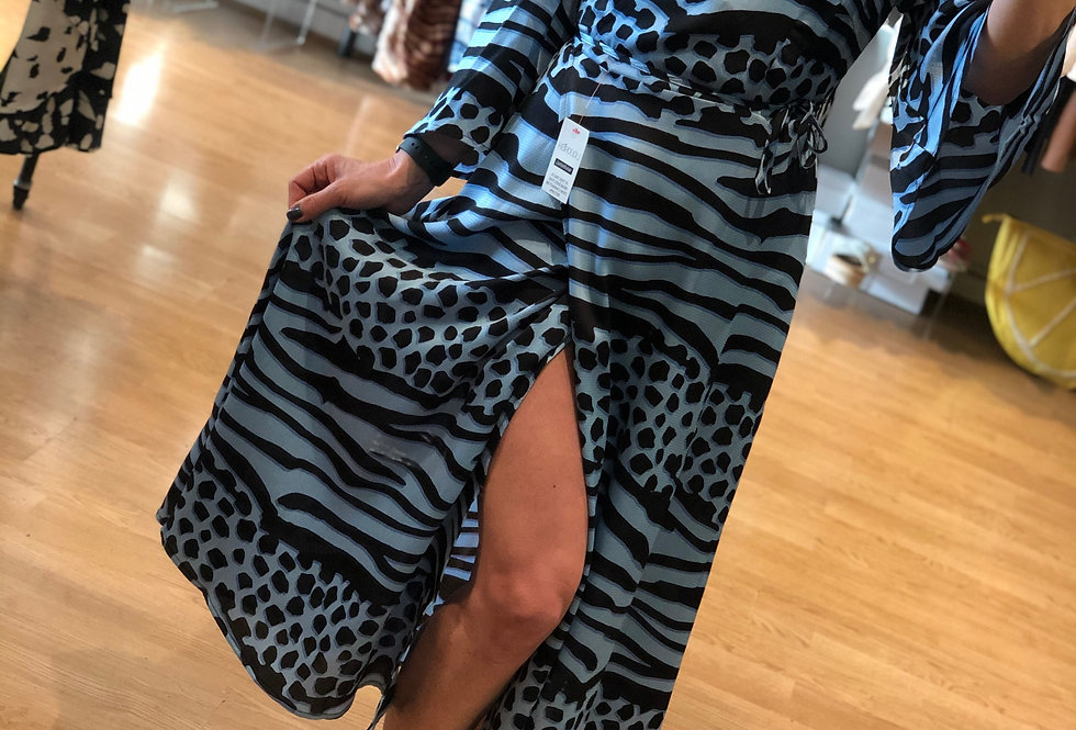 Blue/Black Leopard Print Wrap Dress