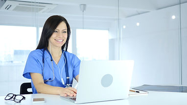 Online Video Chat on Laptop by Doctor fo