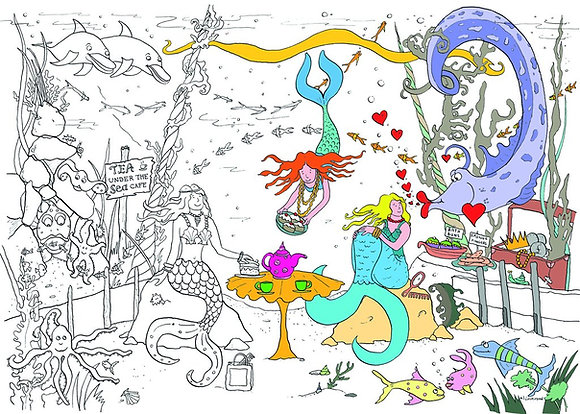 Really Giant  Colouring  Poster - A Mermaid Tea Party