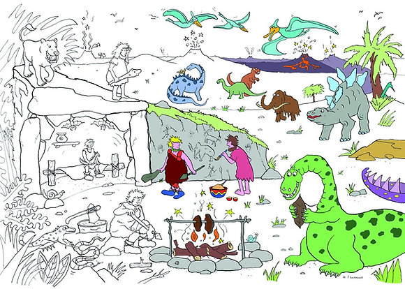 Really Giant Colouring Poster  - Dinosaurs and Cavemen