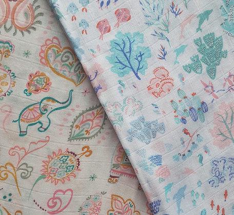Angel Dear Swaddle Bundle - Ditsy Seaworld + Boho Elephant