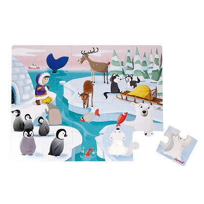 Janod - Life on the Ice Tactile Puzzle (20 Pieces)