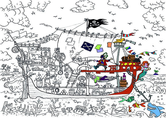 Really Giant Colouring Poster - Pirate Ship