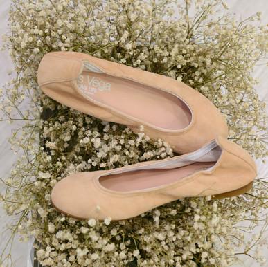 Modelo Bailarina con Gomas - Ante en Rosa Palo