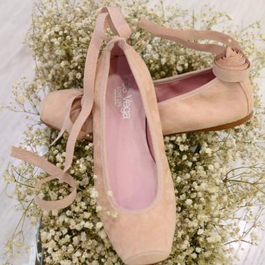 Modelo Bailarina de Punta y Cinta - Ante en Rosa Nude