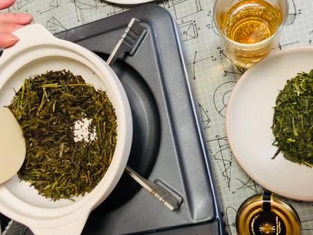 赤い日本茶サンルージュでほうじ茶作り