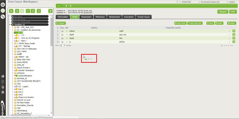 From the tree structure, drag and drop a test case to the Test case tab to add a test case call.