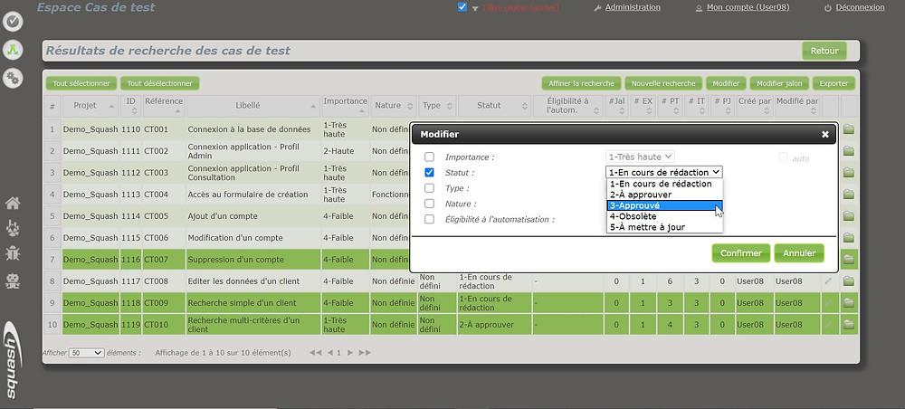 Il est possible de modifier le statut d'un cas de test depuis les résultats de recherche des cas de test de Squash